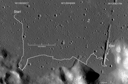 Lunokhod 2 traverse overview