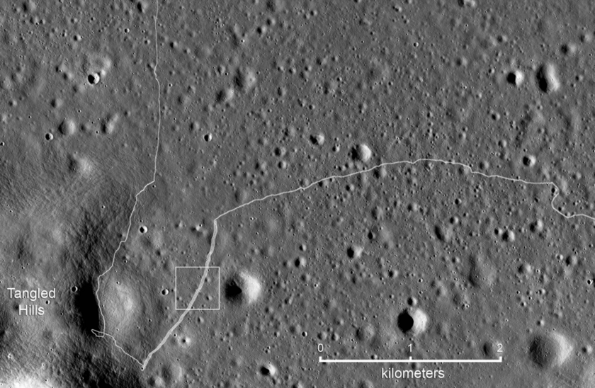 LROC NAC view of the SW portion of the Lunokhod 2 traverse