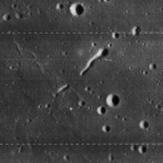 A discontinuous rille on the Moon (Lunar Orbiter view)