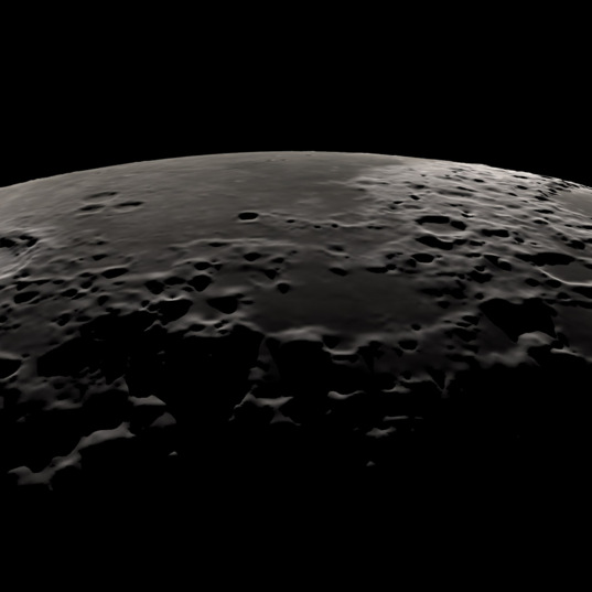 Simulated obliquie limb view of the Moon using Kaguya topographic data