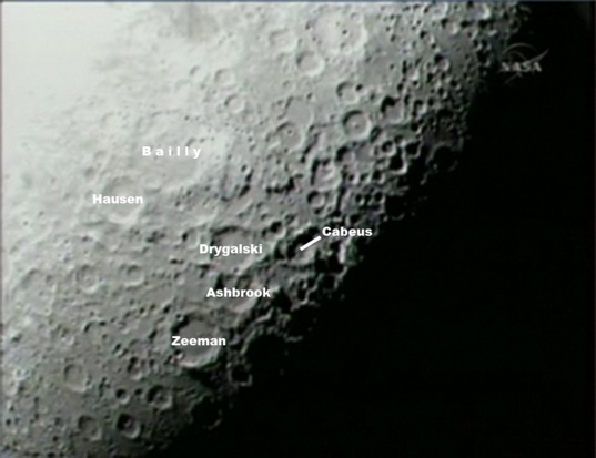 LCROSS view of the lunar south pole (labeled)