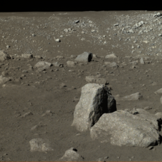 Dark and light-toned boulders imaged by the Yutu rover