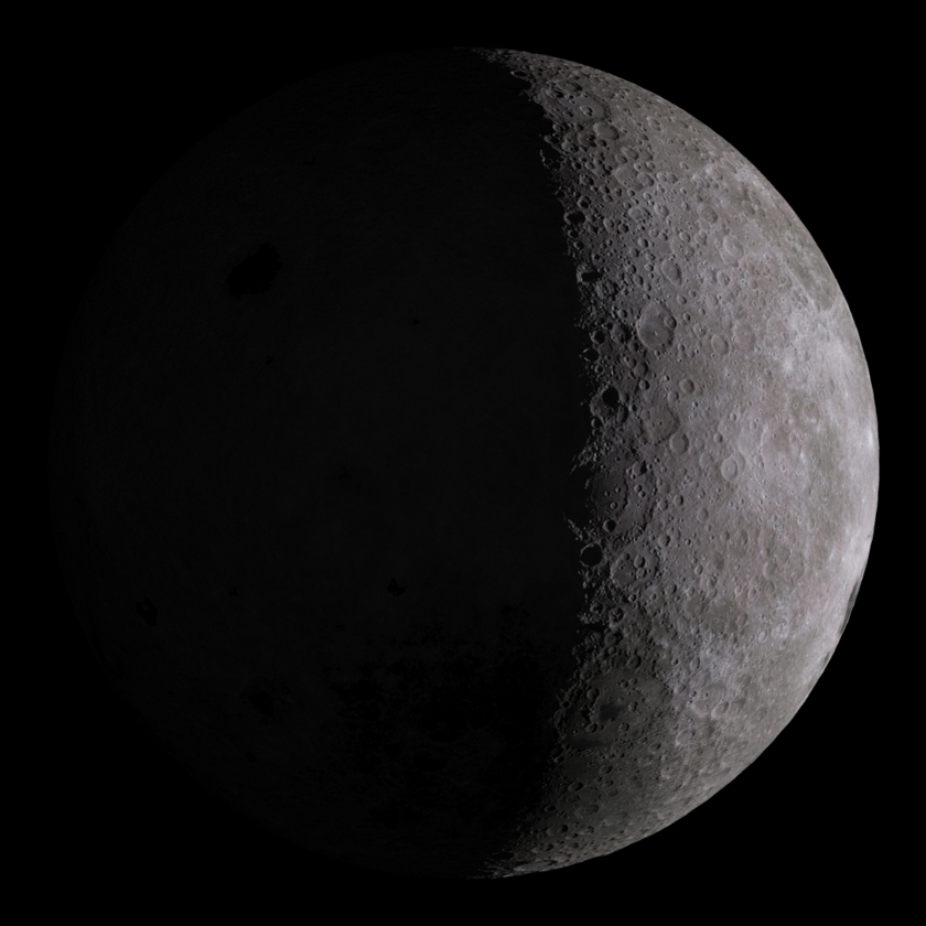 Simulated view of the lunar farside: 6 days old