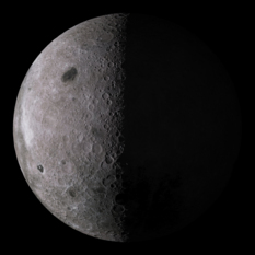 Simulated view of the lunar farside: 22 days old