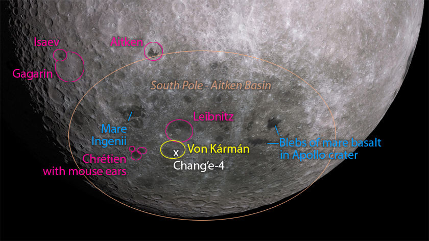Landmarks near the Chang'e-4 landing site