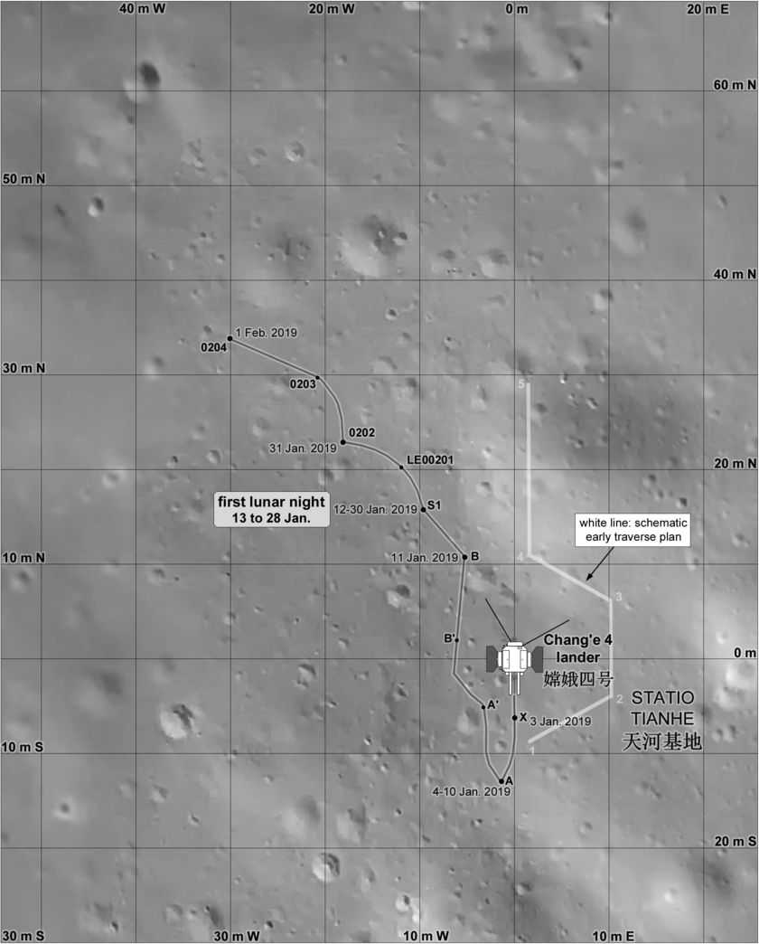 Yutu-2 drive map up to early February
