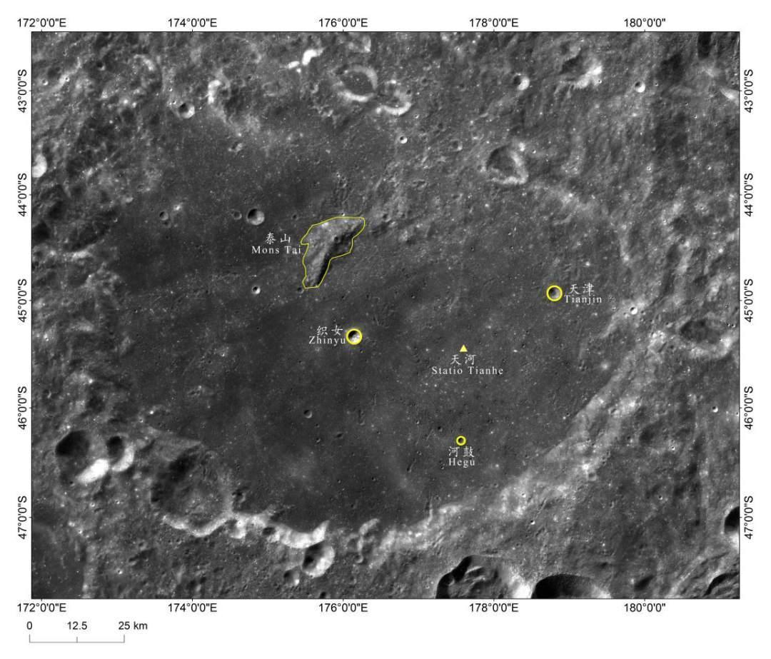 Chang'e 4 - Mission sur la face cachée de la Lune (rover Yutu 2) - Page 11 20190306_STATIO-TIANHE-central-peak-crater-triange-IAU