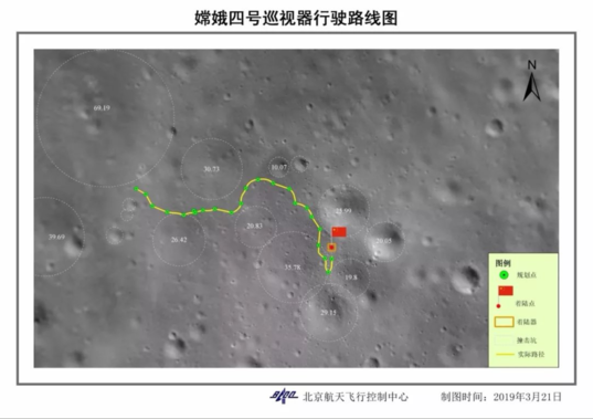Yutu-2 through lunar day 3 route map