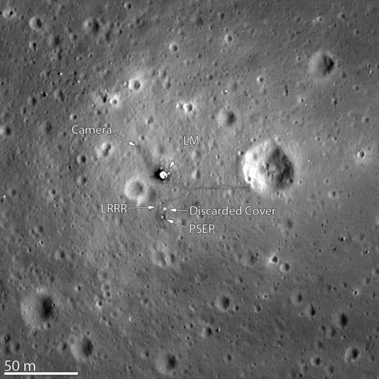Apollo 11 landing site from Lunar Reconnaissance Orbiter