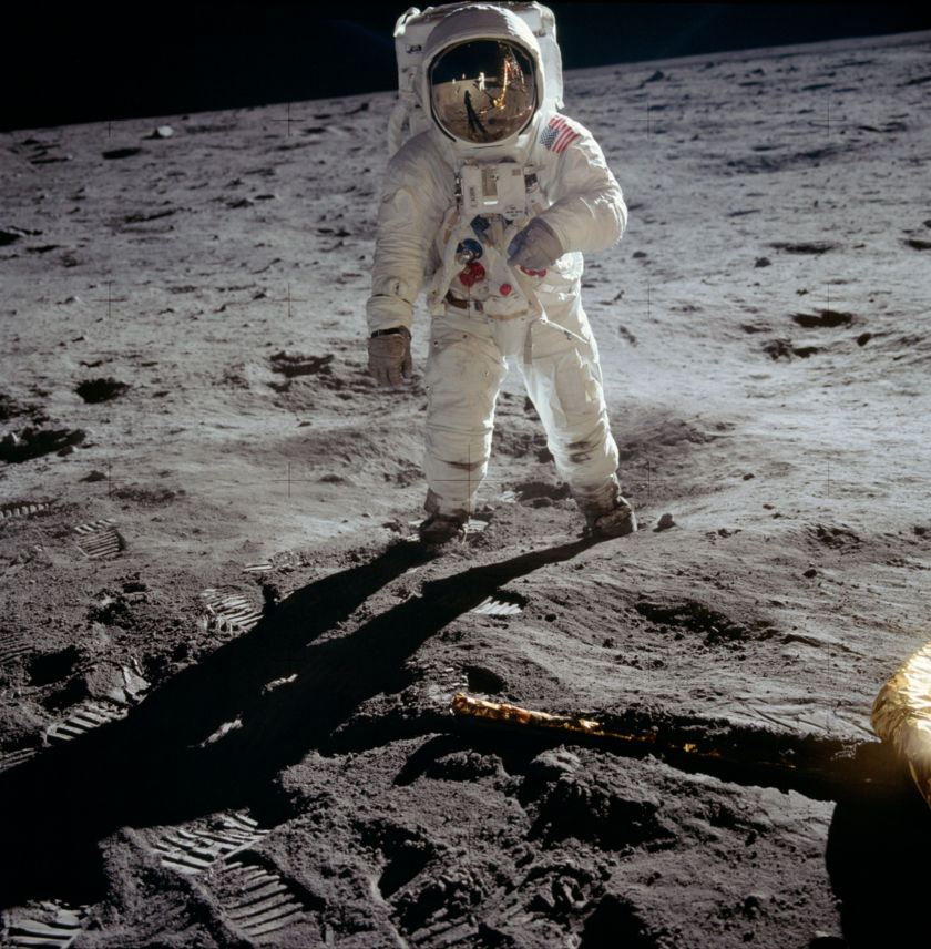 Buzz Aldrin on the lunar surface