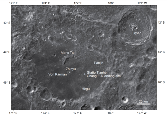 Regional map of the Chang'e-4 landing site