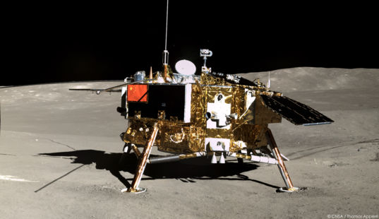 View of Chang'e 4 Lander From Yutu-2, 10 January 2019
