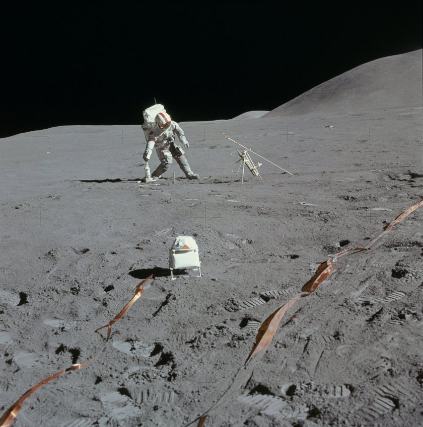 Apollo 15 Commander David Scott at the ALSEP station, EVA 2