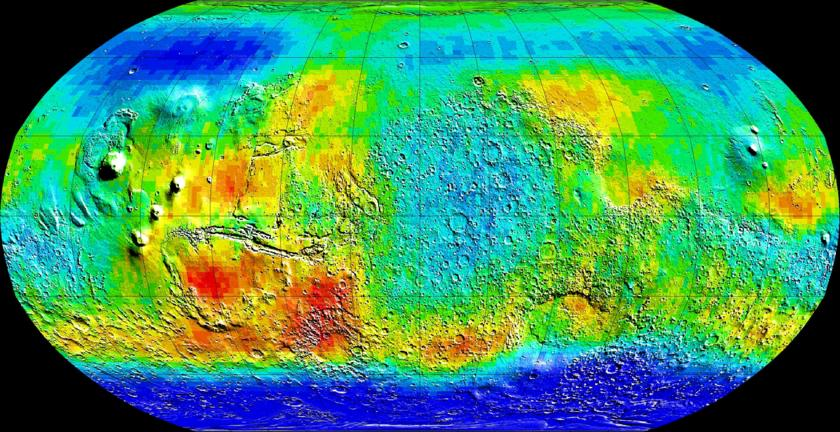 Water in Mars' subsurface from Mars Odyssey's Neutron Spectrometer (epithermal neutrons)