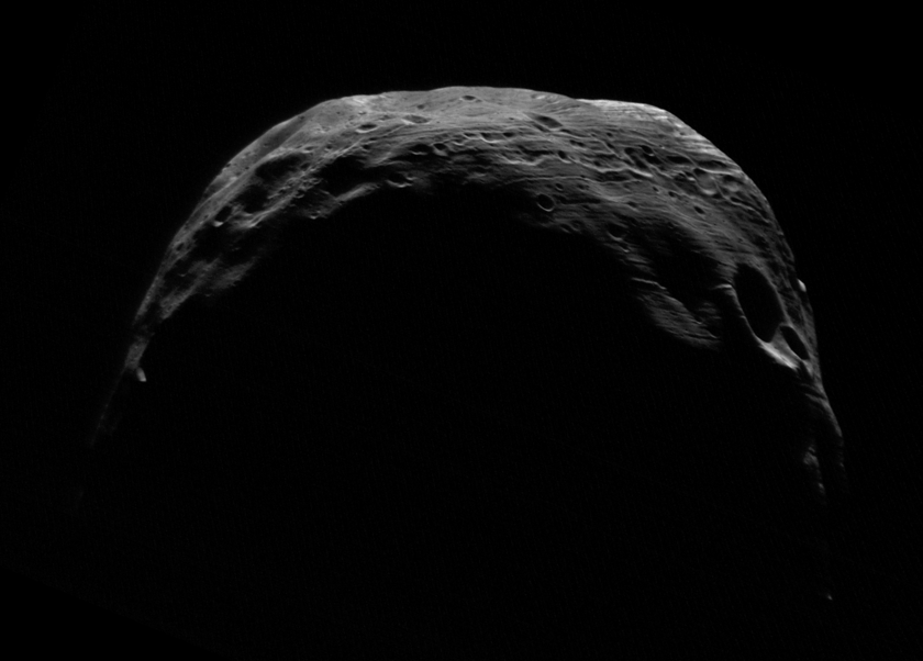 Crescent Phobos from Mars Express, 25 May 2007