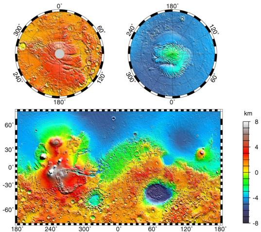 Mars Orbiter Laser Altimeter (MOLA) map of Mars