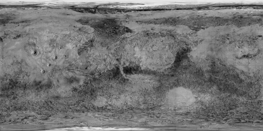 Global map of Mars from Mariner 9 data (1971)