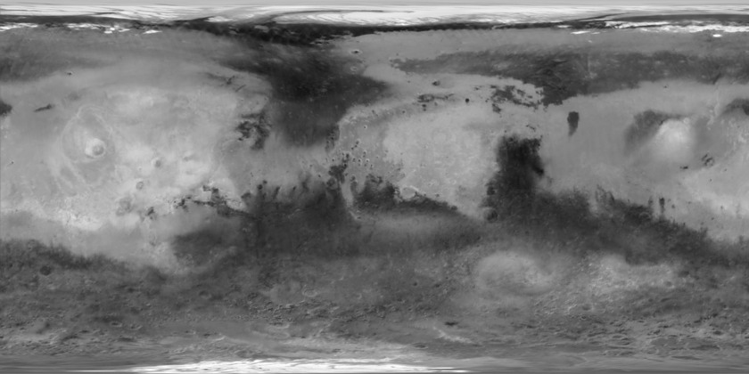 Mars Global Surveyor TES albedo map of Mars (2000)