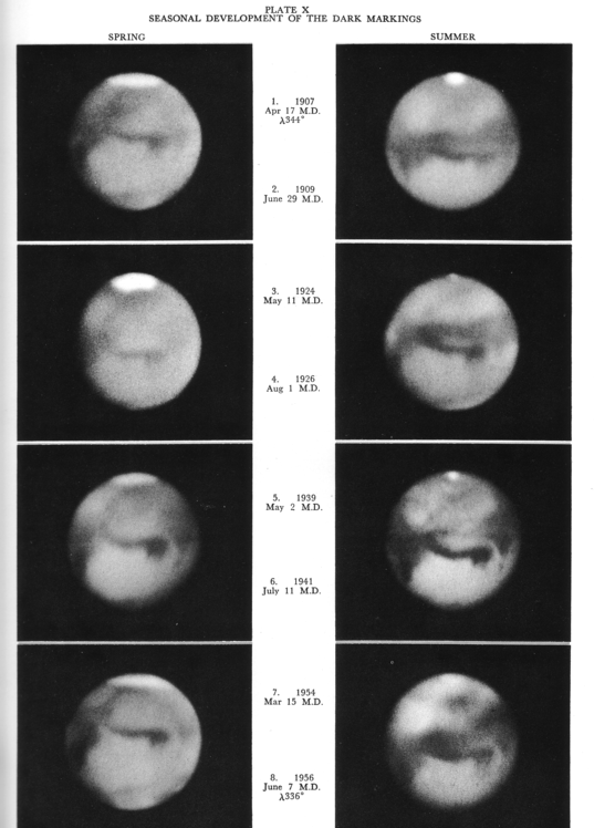 Seasonal developments of the dark markings on Mars, 1907-1956