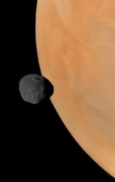Phobos crossing Mars' limb from Phobos 2