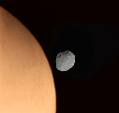 Phobos just off Mars' limb from Phobos 2