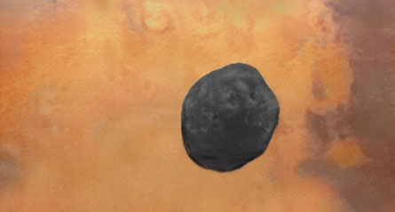 Phobos over Mars from Phobos 2
