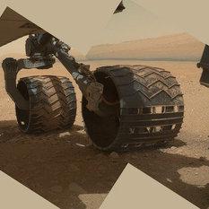 Curiosity's wheels firmly on Mars (MAHLI view, sol 34)