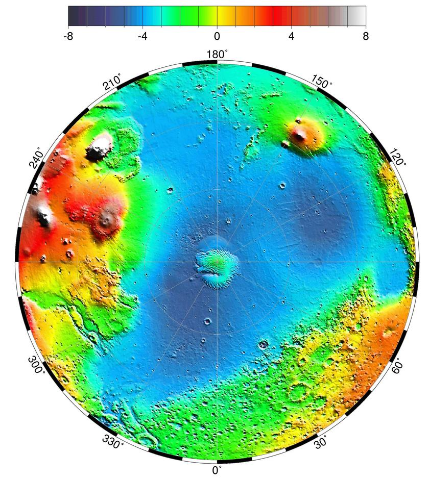 Topographic map of Mars' northern hemisphere