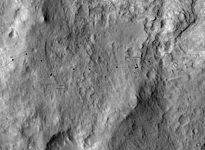 Curiosity route map to sol 55