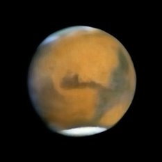 Mariner 7 approach image of Mars (reconstructed)