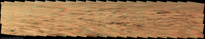Curiosity 3D color panorama from Point Lake, sols 107-109