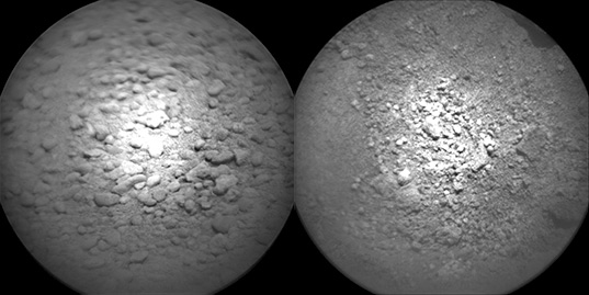 Chemcam images of soil from sols 43 (left) and 72 (right)