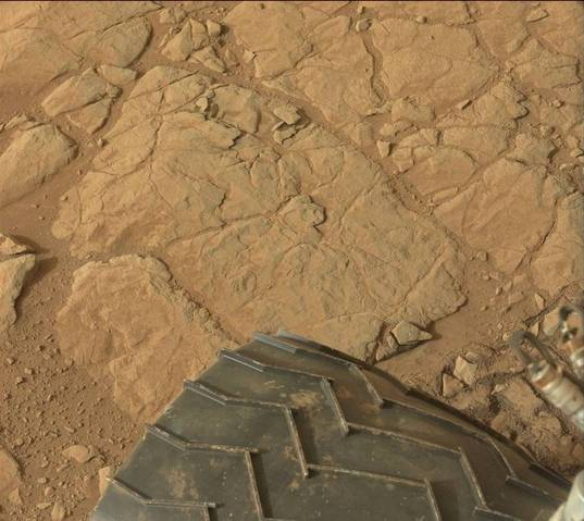 Veiny rocks underfoot, Curiosity sol 137