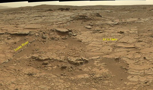 Context image: John Klein and Snake River locations as seen from Curiosity's sol 137 position