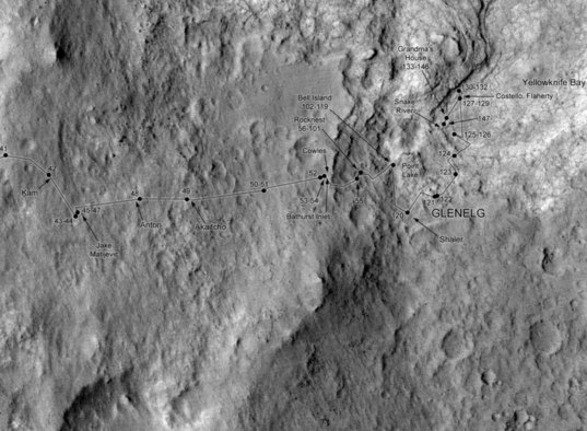 Curiosity route map to sol 157