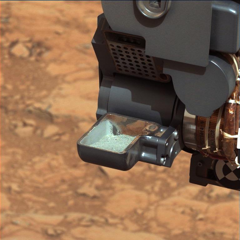 Drilled sample in Curiosity's scoop at last