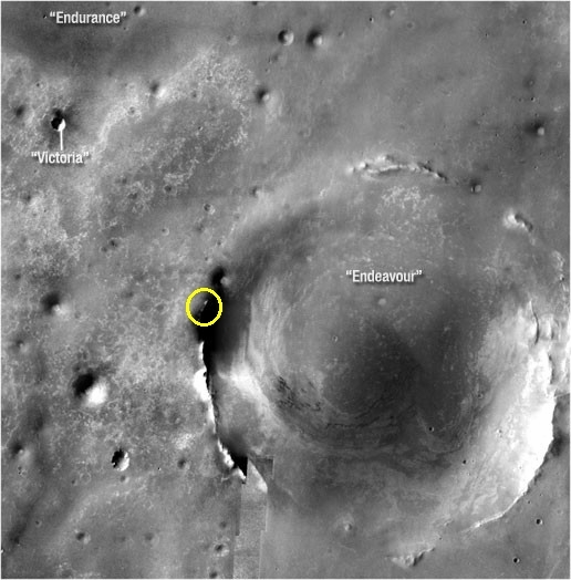 The goal: orbital view of Opportunity's arrival point on the rim of Endeavour crater