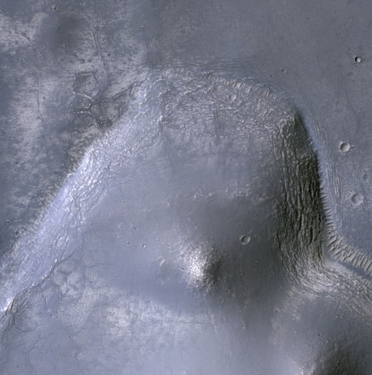 Center of an odd crater in Terra Sabaea