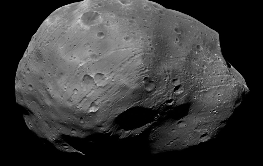 Phobos' south pole from Mars Express