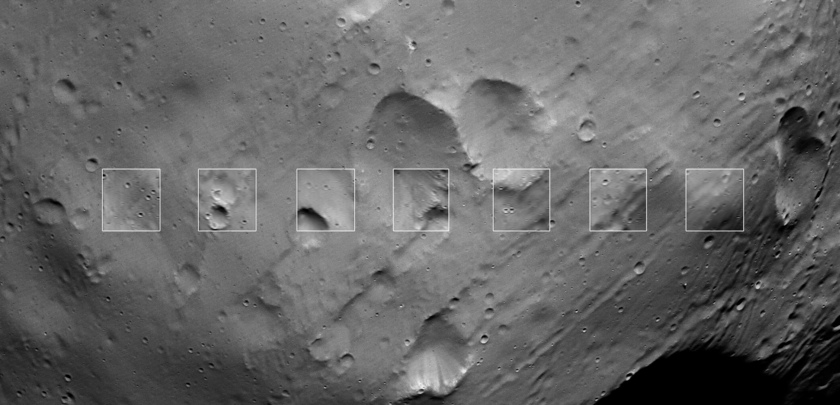 Seven SRC images taken during Mars Express Phobos flyby