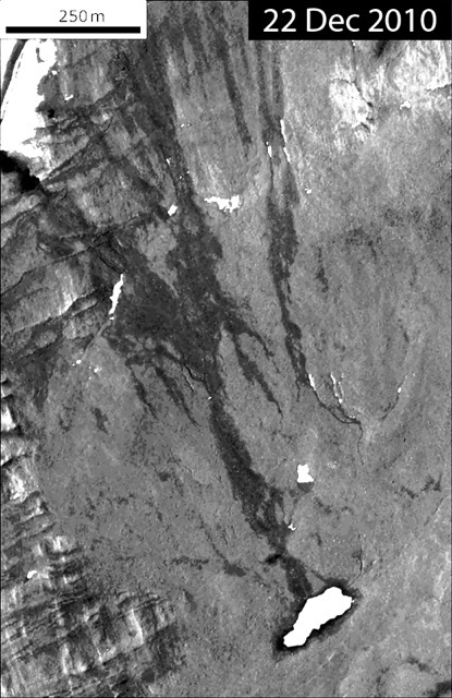 Quickbird satellite image of a water track in the vicinity of Lake Hoare, McMurdo Dry Valleys, Antarctica