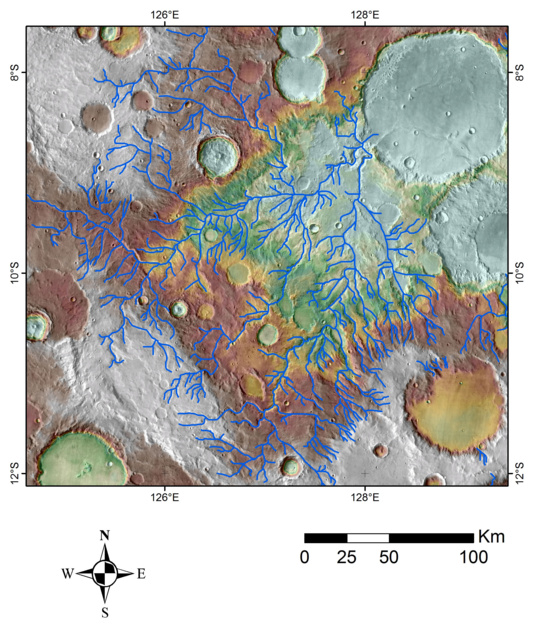 Map of valley networks on MOLA topography image base