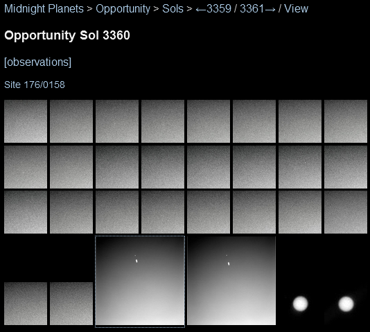 Opportunity images from sol 3360 (screen grab from midnightplanets.com)