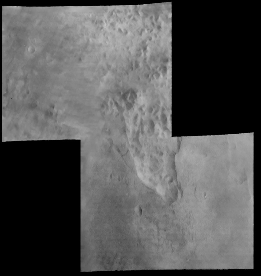 Mariner 6 view of chaos terrain on Mars