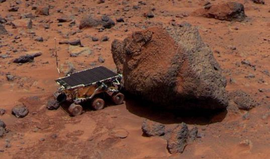 The Sojourner rover at rock