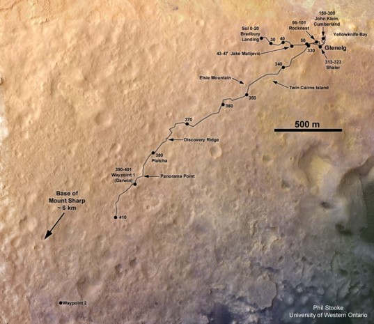 Curiosity route map to sol 410 (October 1, 2013)