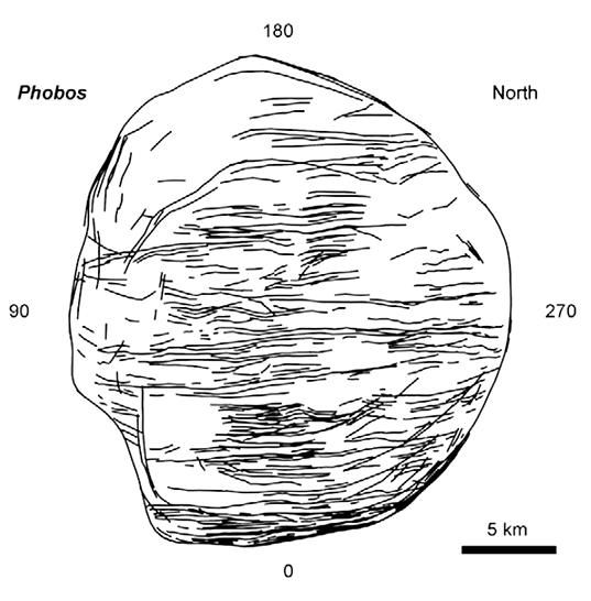 Phobos' grooves (north polar map)