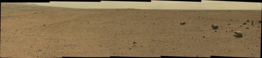 Unusual rock garden in drive direction panorama, Curiosity sol 413