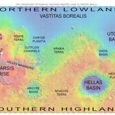 Map of Mars with major regions labeled