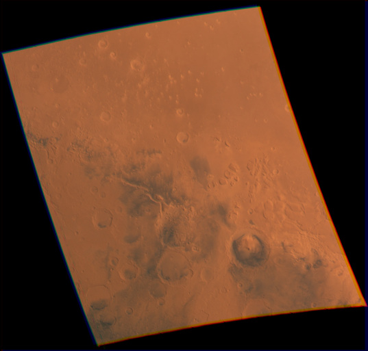 Color Viking view of Gale crater and environs
